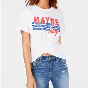 """Tops - ✨""""MAYBE BABY"""" FRONT TIE T-SHIRT✨"""
